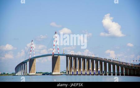 Photography of Saint Nazaire suspended bridge over La Loire river estuary, France - Stock Photo