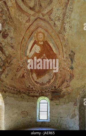 France, Loir et Cher, Montoire sur le Loir, Saint Gilles chapel, frescoes - Stock Photo
