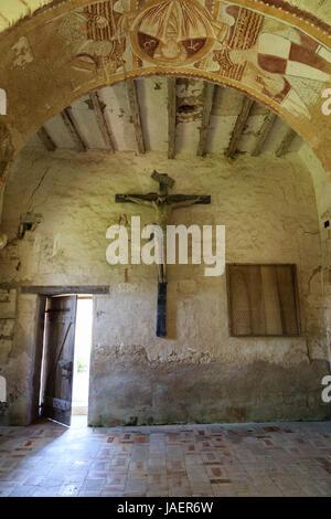 France, Loir et Cher, Montoire sur le Loir, Saint Gilles chapel, frescoes and crucifix - Stock Photo