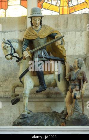 France, Loir et Cher, Vendome, the abbey, the church, Saint Martin statue - Stock Photo
