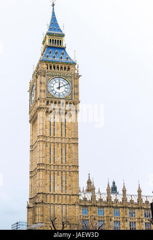 Big Ben is the nickname for the Great Bell of the clock at the Palace of Westminster in London, United Kingdom - Stock Photo