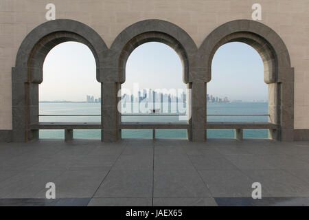 View from the Museum of Islamic Art across the bay to the business district of West Bay, Doha, Qatar - Stock Photo