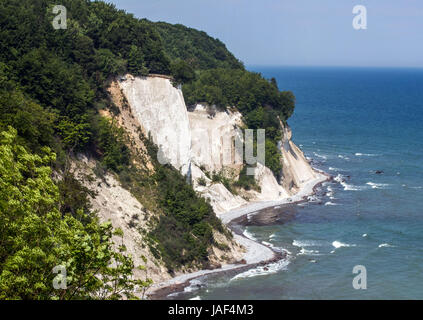 Picture of the chalk cliff formation of Konigsstuhl near to Sassnitz on the island of Rugen, Germany, taken 06 June - Stock Photo