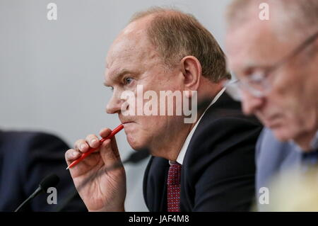 MOSCOW, RUSSIA - JUNE 6, 2017: Gennady Zyuganov (L), Chairman of the Russian Fedeation Communist Party (KPRF), and - Stock Photo