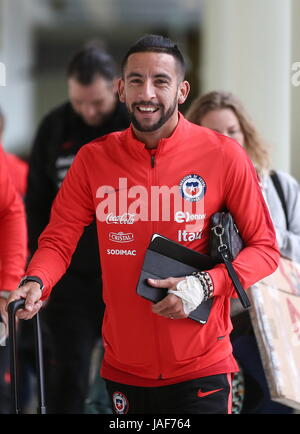 MOSCOW REGION, RUSSIA -- JUNE 6, 2017: Mauricio Isla of the Chilean national team arrives at Sheremetyevo International - Stock Photo