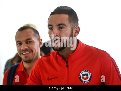 MOSCOW REGION, RUSSIA -- JUNE 6, 2017: Marcelo Diaz (L) and Mauricio Isla of the Chilean national team arrive at - Stock Photo