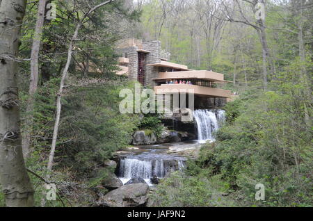 FILE - A file picture dated 09 May 2014 shows 'Fallingwater' a former house and now a museum near Pittsburgh, Pennsylvania, - Stock Photo