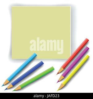 colorful illustration with colorful pencils for your design - Stock Photo