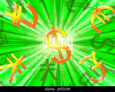 Foreign Currency Symbols Meaning Forex Rate 3d Illustration Stock