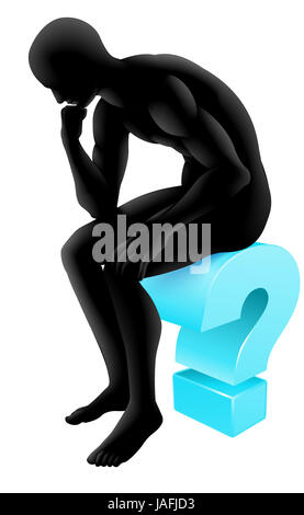 Silhouette man on a question mark icon in thinking in a thinker pose. Concept for any questioning or psychology, - Stock Photo