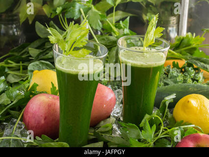 Raw vegetables-green healthy living one drink at a time - Stock Photo