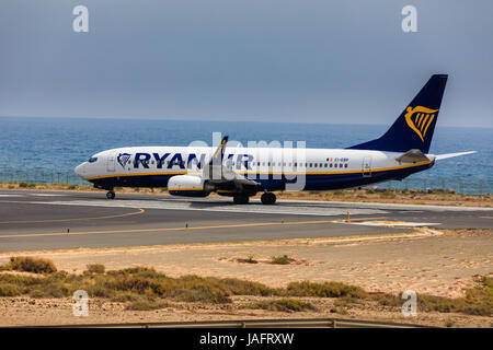 ARECIFE, SPAIN - APRIL, 16 2017: Boeing 737-800 of AYANAIR with the registration IE-EBP ready to take off at Lanzarote - Stock Photo