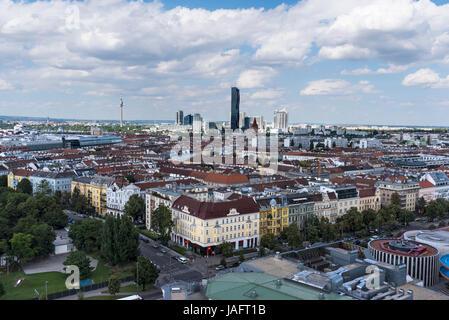 View from Wiener Riesenrad Giant Ferris Wheel, Vienna, Austria, Europe - Stock Photo