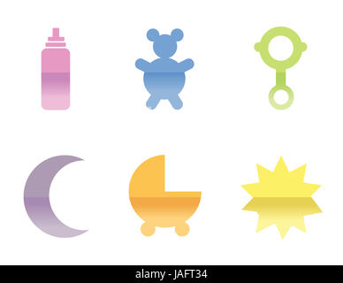 Illustrations of different baby icons, that can be used as a symbol. isolated over a white background. - Stock Photo