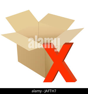 Cardboard with x mark illustration design isolated over a white background - Stock Photo