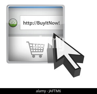 Buy it now browser button with cursor illustration design - Stock Photo