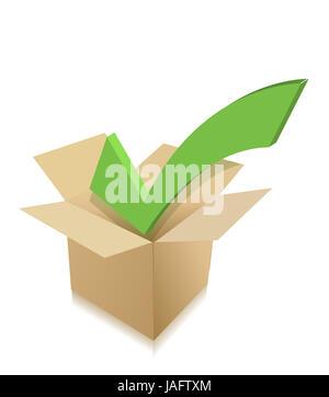 check mark box cardboard. illustration design over white - Stock Photo