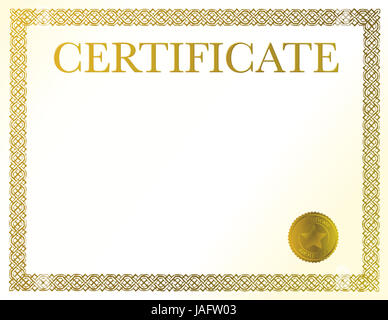 Blank Frame Template With Award Seal For Certificate Diploma