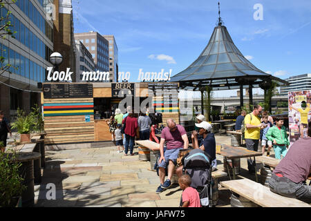 Al fresco bar on River Thames near Hays Galleria, London 2017 UK - Stock Photo
