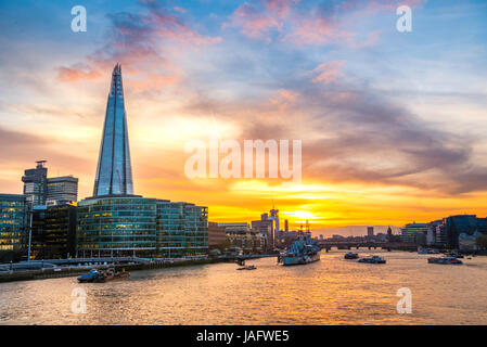 Skyline of the office complex More London Riverside, The Shard, Thames at sunset, Southwark, London, England, United - Stock Photo