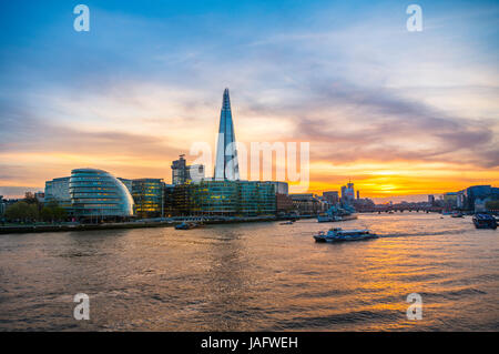 Skyline of the office complex More London Riverside, London City Hall, The Shard, Thames at sunset, Southwark, London, - Stock Photo