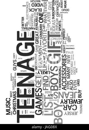 AWESOME GIFT IDEAS FOR THE TEENAGE DUDE TEXT WORD CLOUD CONCEPT - Stock Photo