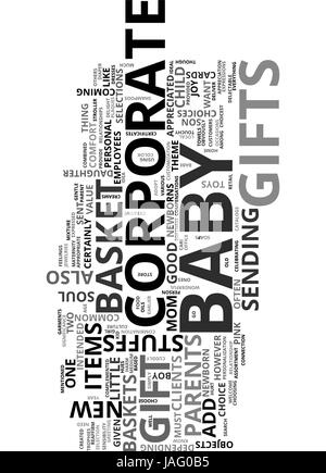 BABY BASKET CORPORATE GIFT TEXT WORD CLOUD CONCEPT - Stock Photo