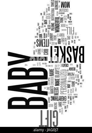 BABY SHOWER GIFT BASKET TEXT WORD CLOUD CONCEPT - Stock Photo