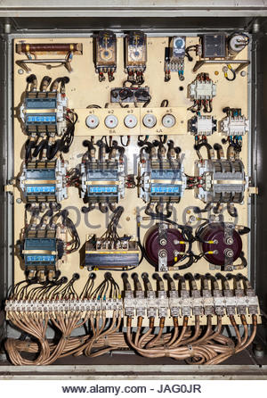 electric service panel with many 3 phase contactor and fuses jag0jr old fashioned and broken fuse box stock photo, royalty free image Cartoon Spine Nerves at virtualis.co