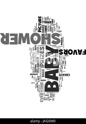 BABY SHOWER PRIZES AND FAVORS TEXT WORD CLOUD CONCEPT - Stock Photo