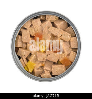 Top view of an opened can of lamb dog food with peas and squash isolated on a white background. - Stock Photo