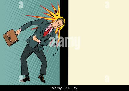 Businessman breaks the wall with his head. Stubbornness and determination in business. Pop art retro vector illustration - Stock Photo