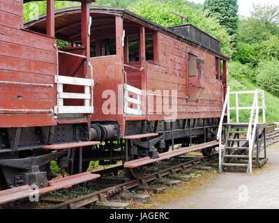 Old train carriages on Cromford and High Peak Railway, High Peak Junction, Cromford, Derbyshire, UK - Stock Photo