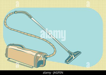 retro vacuum cleaner vintage illustration. Pop art retro vector - Stock Photo