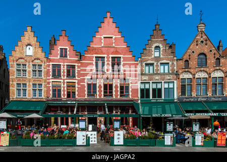Markt or Market Square, Bruges, West Flanders, Belgium - Stock Photo