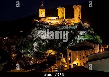Night view of Foix, Occitanie, France. - Stock Photo