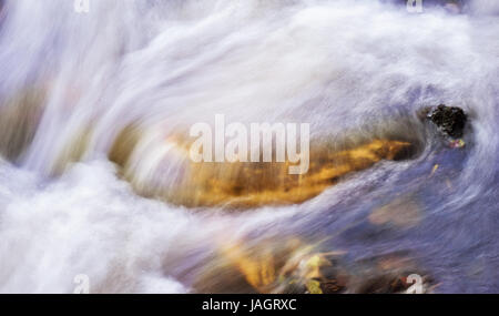Clean and beautiful background of smooth and silky flowing water, Kodaikanal Lake, Tamil Nadu - Stock Photo