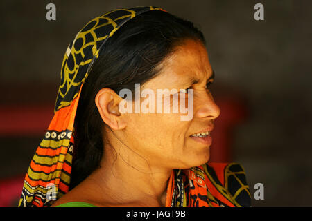Portrait of West Bengali woman near Phuentsholing, QWest Bengal, India - Stock Photo