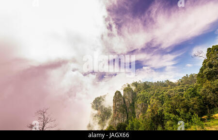 Pillar Rocks of Kodaikanal are set of three giant rock pillars which stand 122 metres (400 ft) high and is managed - Stock Photo