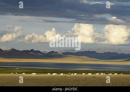 Mongolia,extreme west province,Bayan Olgii province,Tsambagarav national park,Kasachen,nomad,support,Jurten, - Stock Photo
