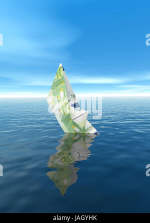 Paper ship from euro of bank note,sink, - Stock Photo