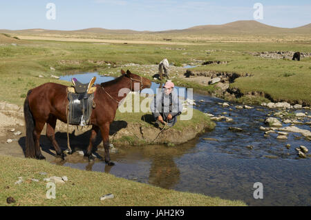Mongolia,Central Asia,Ovorkhangai province,bleed,riverside,rest, - Stock Photo