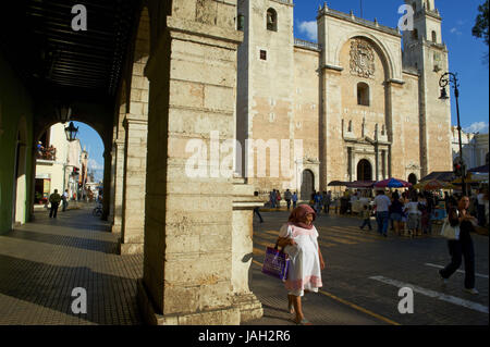 Mexico,Yucatan,Merida,capital,cathedral,space of the independence, - Stock Photo