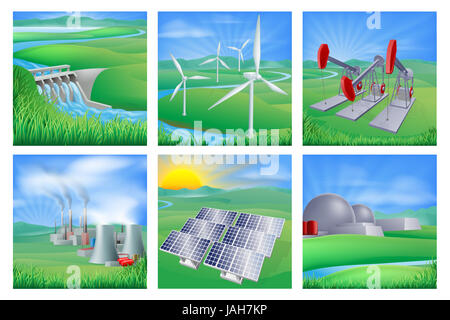 Illustrations of different types of power and energy generation including wind, solar,  hydro or water dam and other - Stock Photo