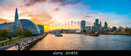 Panorama, Riverside promenade on the Thames, Potters Fields Park, Skyline of the City of London, Gherkin, Leadenhall - Stock Photo