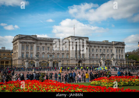 Tourists in front of Buckingham Palace, Westminster, London, England, United Kingdom - Stock Photo