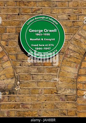 Plaque at George Orwell ex residence Canonbury Square Islington London - Stock Photo