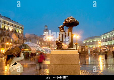 Snowing at Puerta del Sol, night view. Madrid, Spain. - Stock Photo