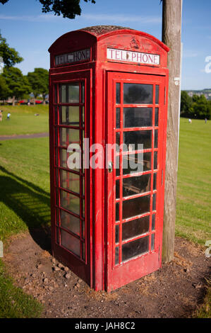 Typical red telephone box in Dundee. Situated on the north bank of Firth of Tay Dundee is the fourth-largest city - Stock Photo