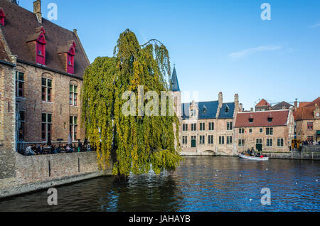 canal in bruge belgium stock photo